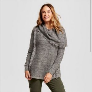 Knox Rose Cowl Neck Fringe Marled Gray Sweater L
